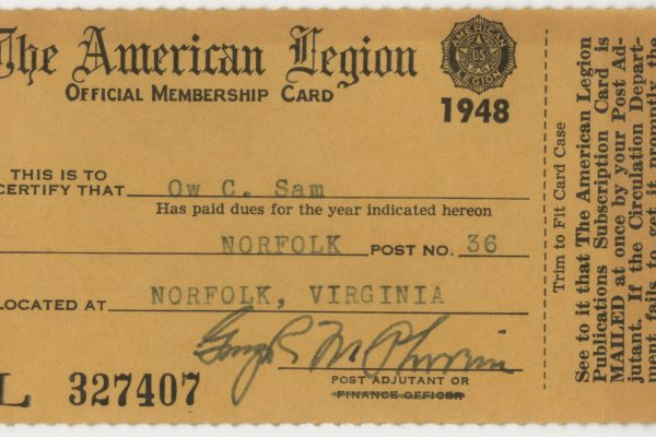 Ow Chuck Sam American Legion membership card, 1948