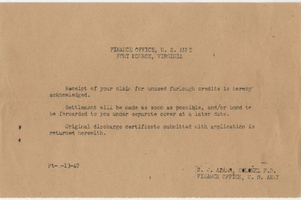 Unused furlough credit receipt, 21 May 1945