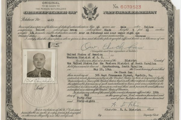 Ow Chuck Sam naturalization certificate, 19 May 1944