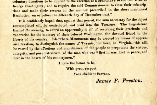 Form letter issued to monument commissioners, 1818.