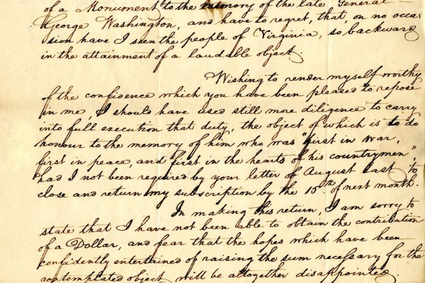 Letter from Bernard Hooe Jr, 1818. Virginia.