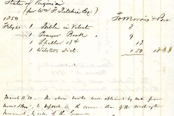 Receipt for items purchased for cornerstone, 1850.