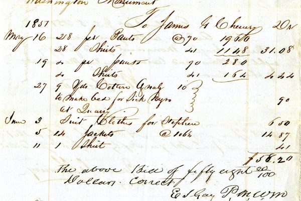 Bill of sale, supplies for enslaved workers, 1851.