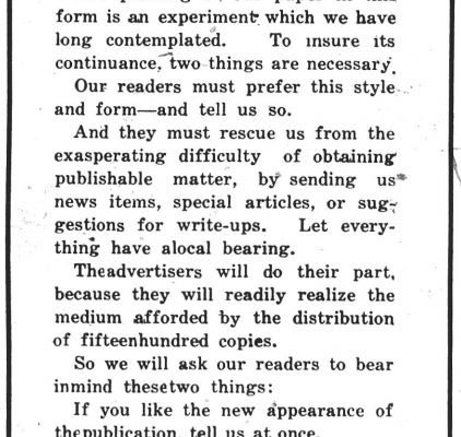 Crawford's Weekly announcement, 30 April 1921.