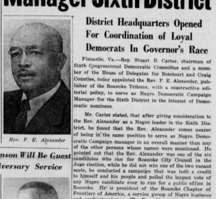Alexander appointed Sixth District Manager, 10 October 1953.