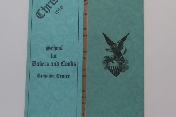 School for Bakers and Cooks Training Center (Fort Lee), Christmas dinner menu, 1918.