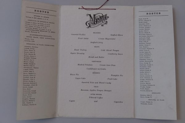 Inside of the School for Bakers and Cooks Training Center (Fort Lee), Christmas dinner menu, 1918.