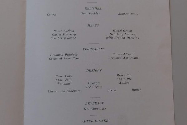 Inside of the Company B, 318th Infantry, National Army (Camp Lee), Christmas dinner menu, 1917.