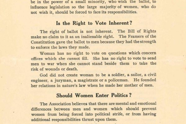 Pamphlet, Equal Suffrage League of Virginia Records, Acc. 22002, Library of Virginia.