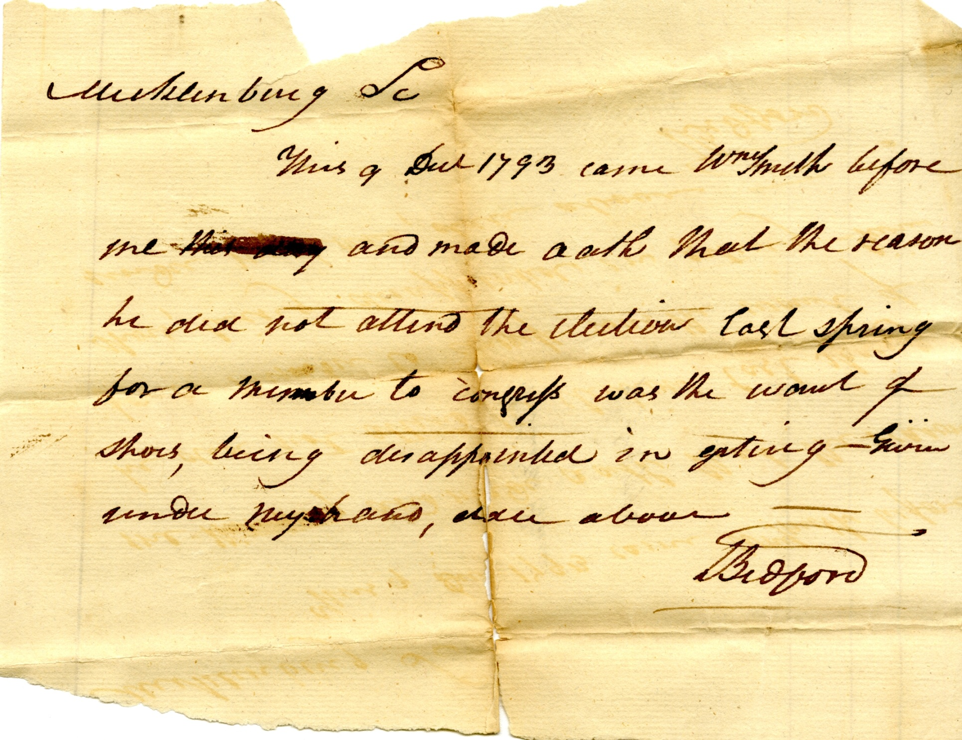 What's Your Excuse? : 1793 Mecklenburg County Election Excuses