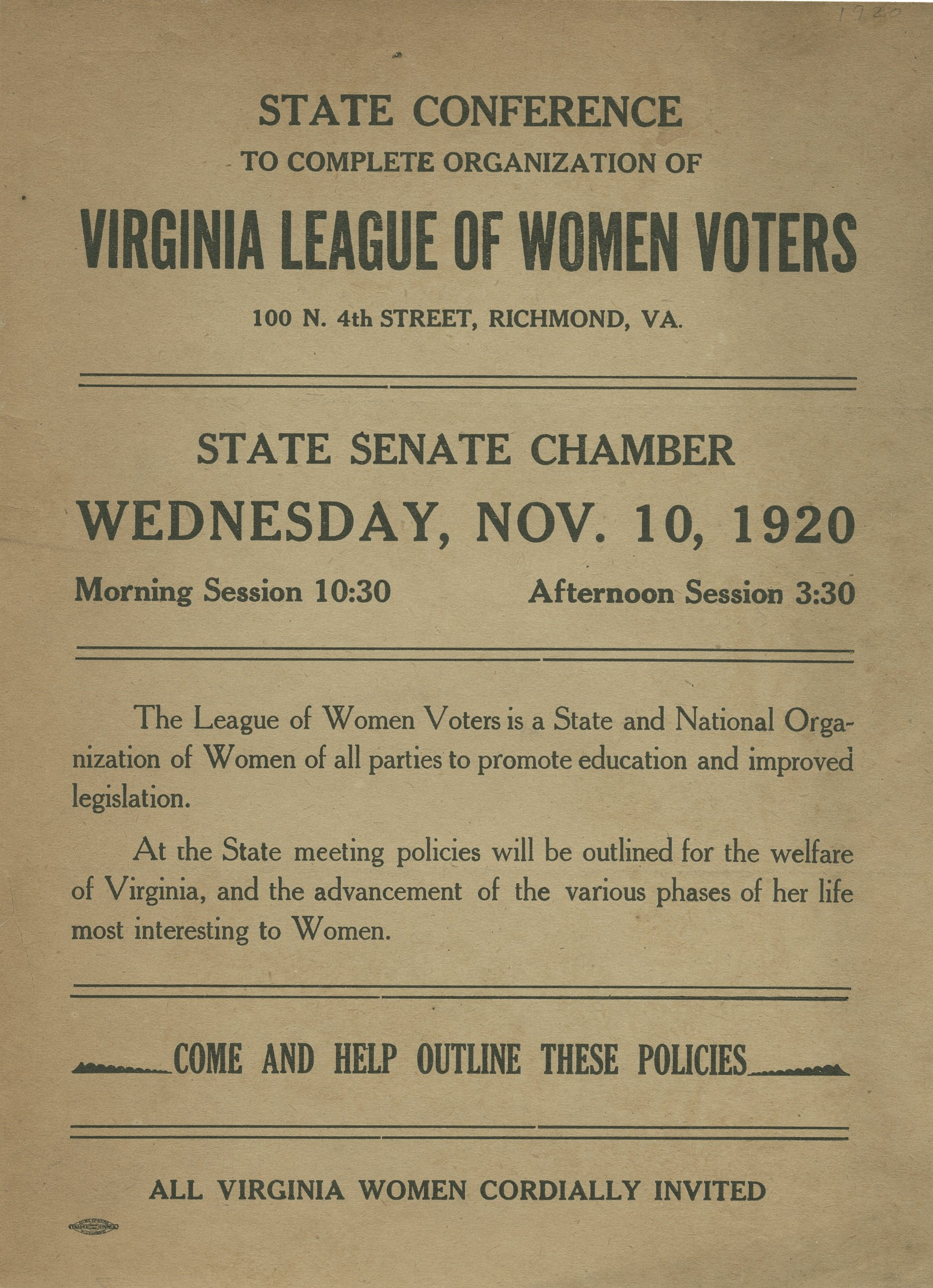 """Banded together for civic betterment"" : The Virginia League of Women Voters"