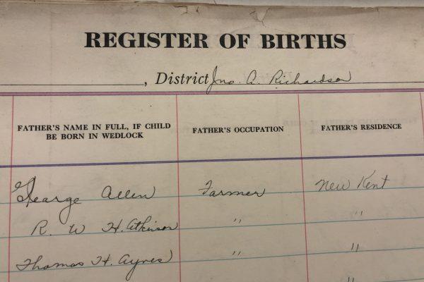 Virginia Bureau of Vital Statistics, Birth Registers, 1853-1896 (New Kent), Accession 26232, Library of Virginia.